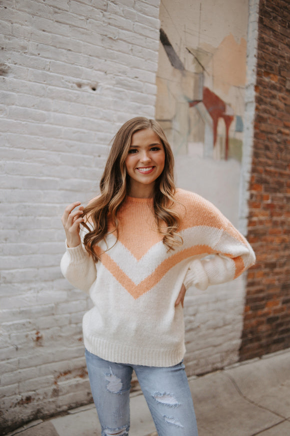 Coral Chevron Sweater