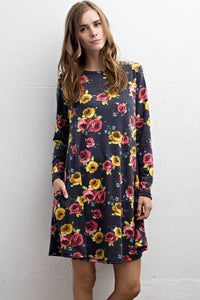 Floral Beauty Pocket Dress in Navy