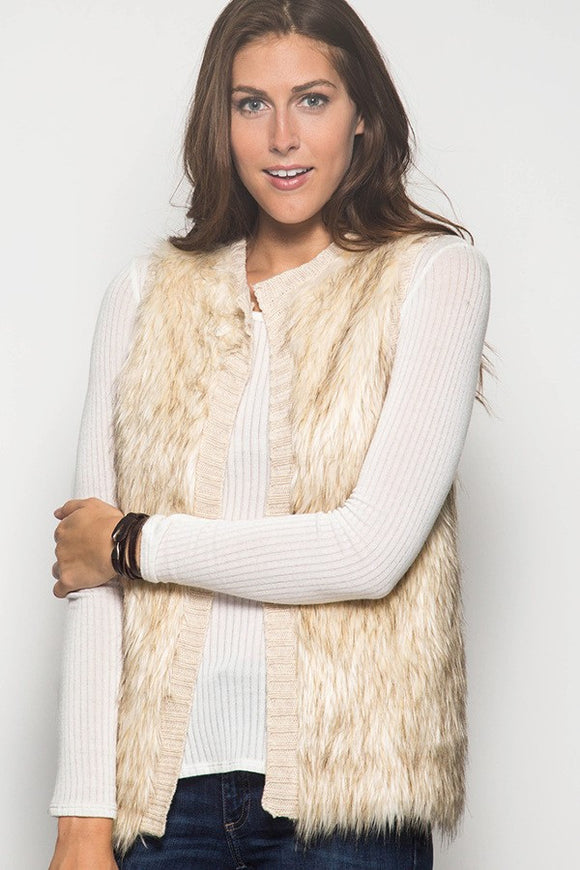Faux Fur Sweater Vest in Cream