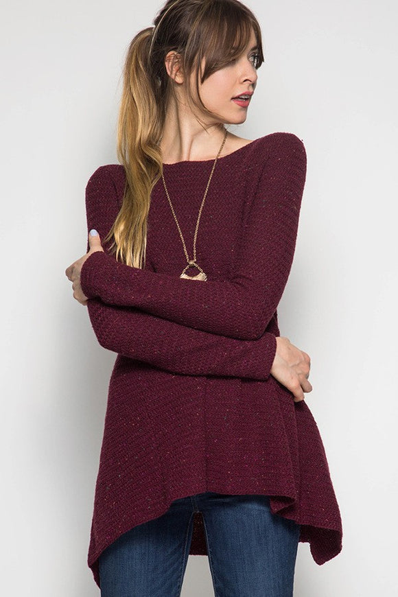 Sweather Weather Tunic in Maroon