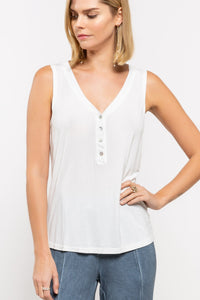 Henley V-neck Tank in Ivory