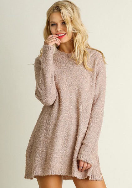 Side Slit Sweater in Blush