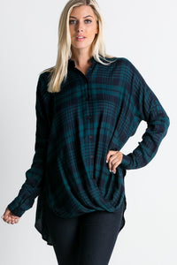 Plaid Front Wrap Top in Green