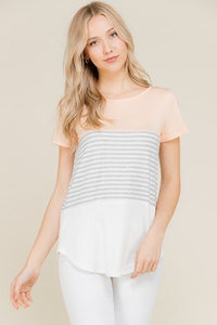 Sydney Striped Top In Peach