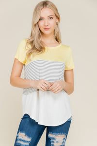 Sydney Striped Top In Yellow