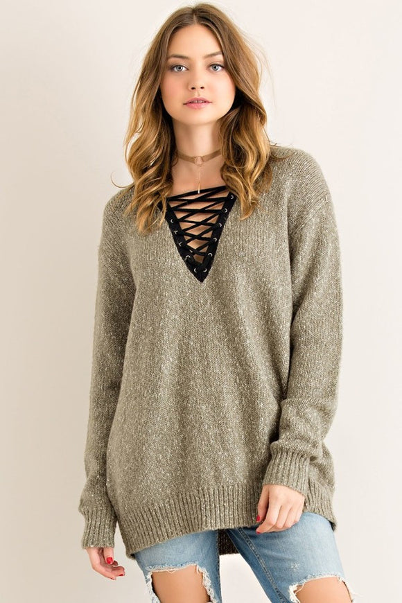 Lace-up Sweater // More Color Options