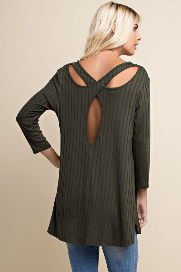Rib Knit Cut Out Top // More Color Options