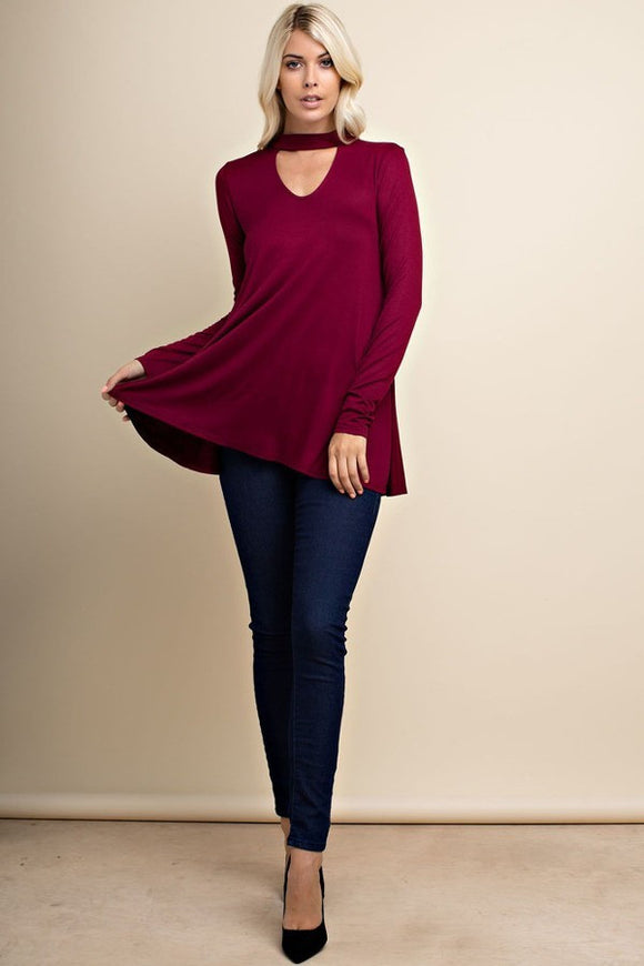 Cut Out Neck Long Sleeve Top // More Color Options