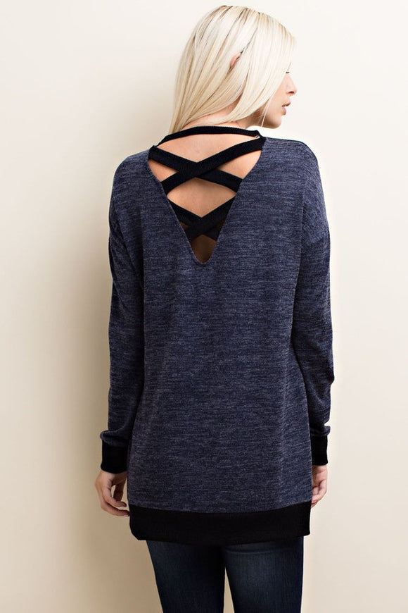 Criss Cross Back Knit Top in Navy