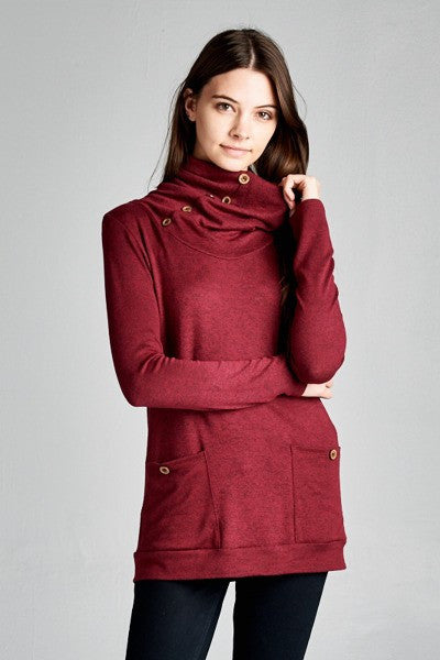 Button Cowl Neck Top in Burgundy