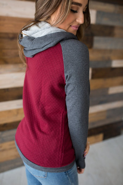 Quilted Maroon Double Hoodie
