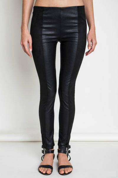Faux Leather Panel Leggings
