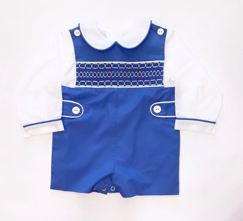 Boys Smocked Blue Shortall