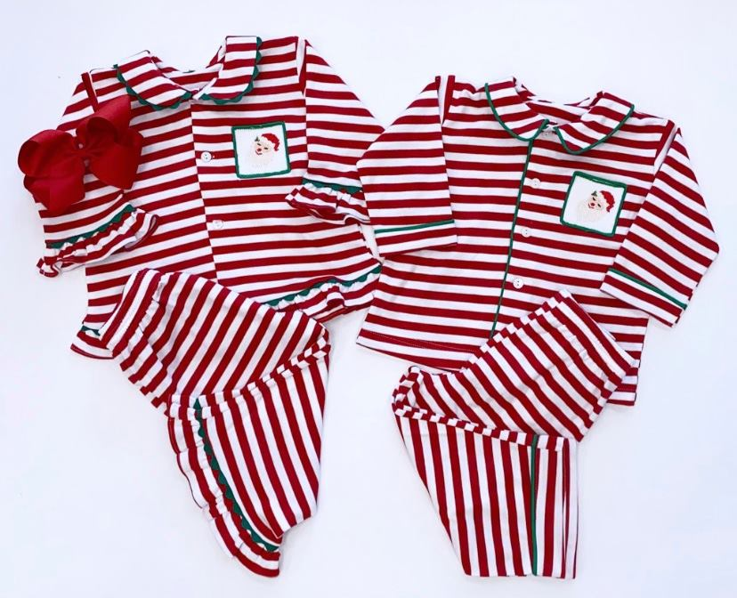 Girls Smocked Santa Pj Set