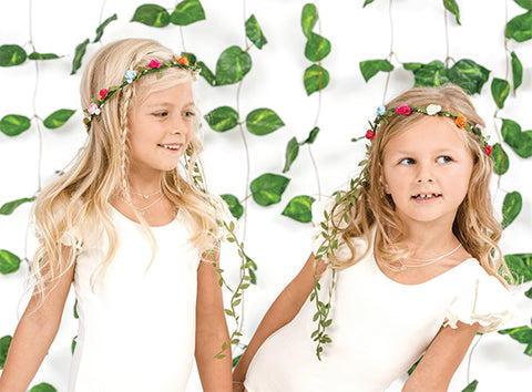 young girls with flowers in their hair wearing bo and bala sterling silver kids necklaces in nz