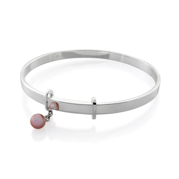 EXTENDABLE STERLING SILVER BANGLE WITH FRESH WATER PEARL CHARM - BO + BALA