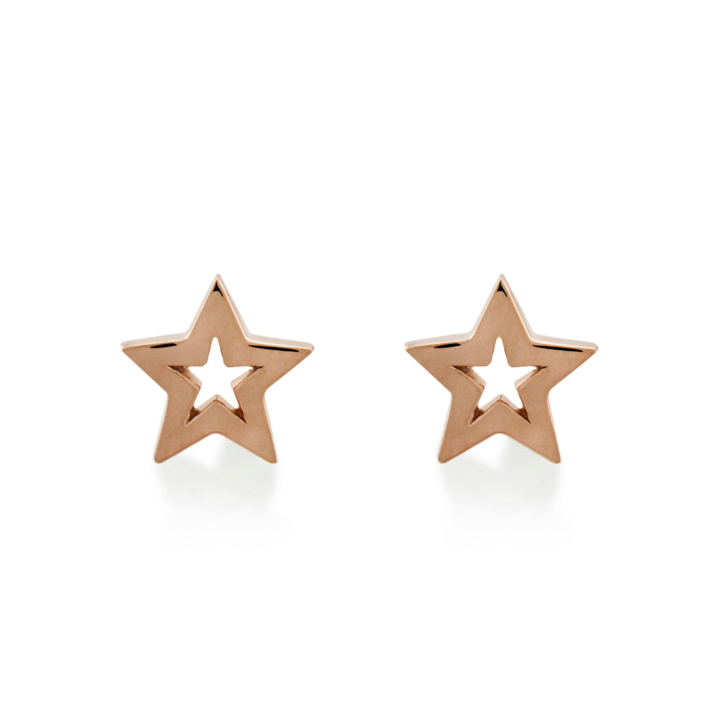 Star Wish Studs Rose Gold Vermeil