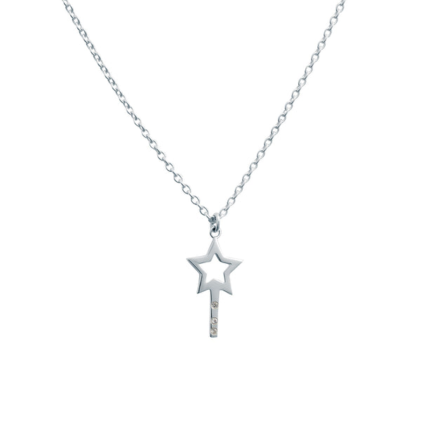 STAR WISHING WAND NECKLACE - BO + BALA - KIDS SILVER NECKLACE NZ