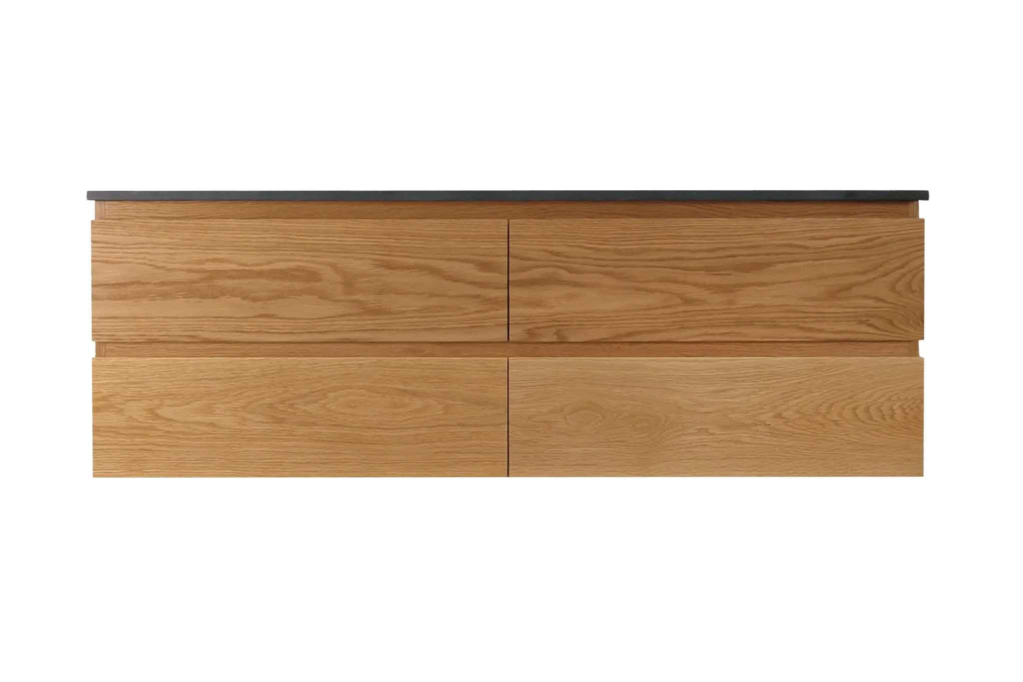 Wall Hung Timber Vanity custom made from sustainably sourced American White Oak by One Tree Studio.