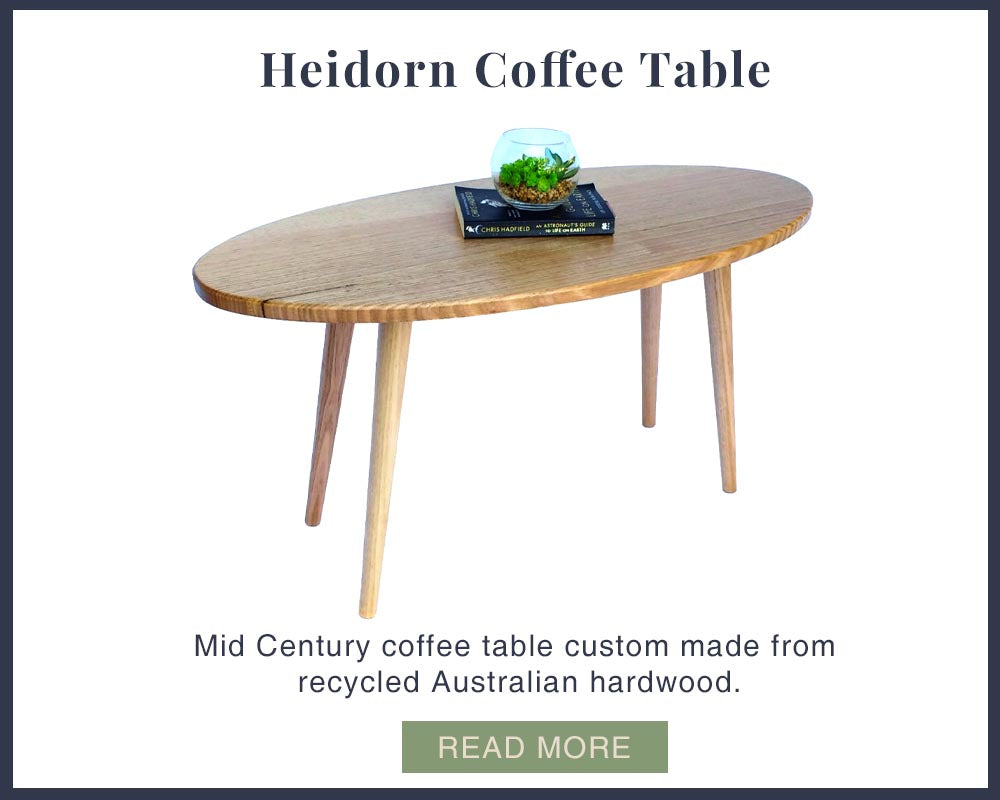 Mid Century style timber coffee table custom made by One Tree Studio