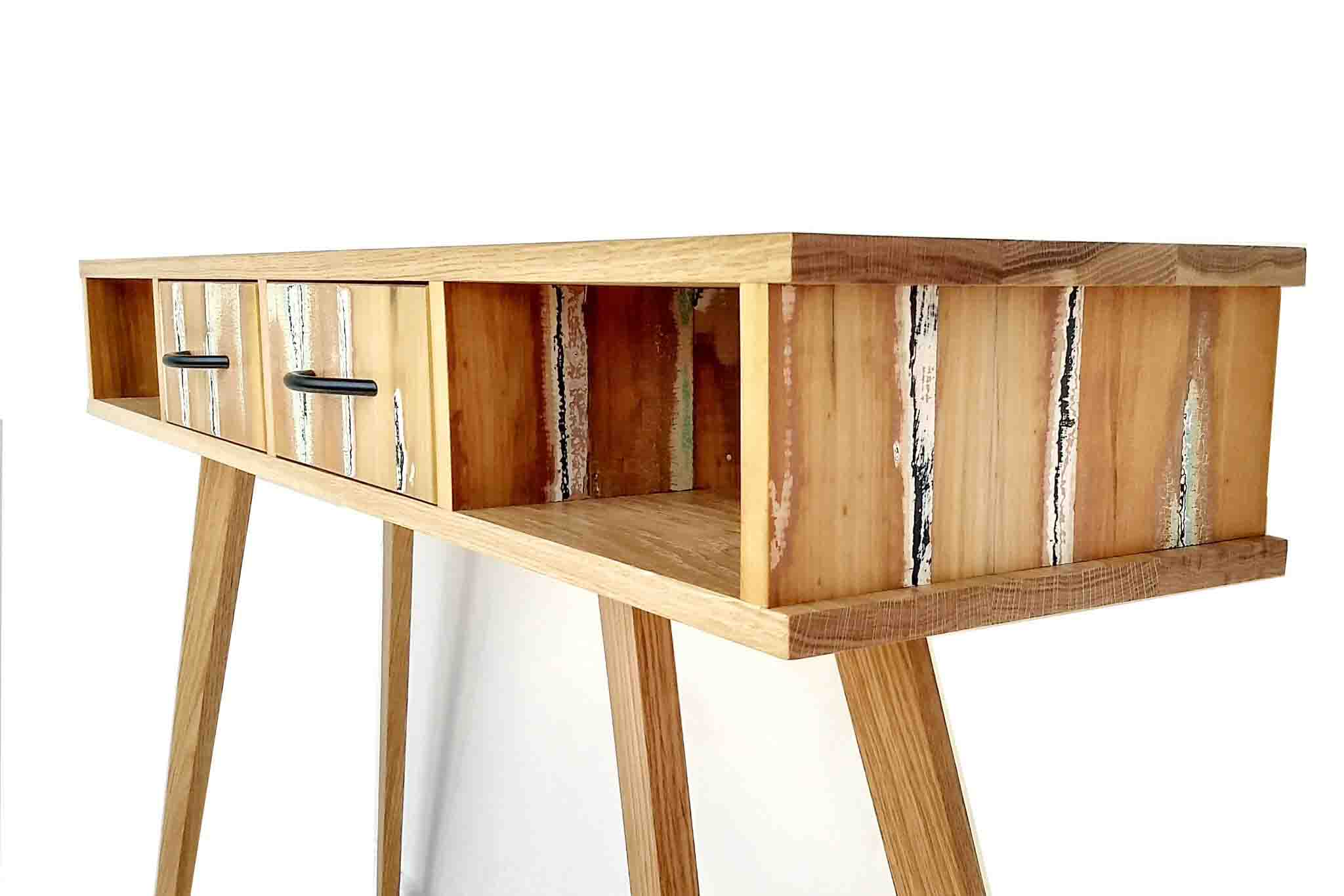 Reclaimed timber hall console custom made from recycled timber by One Tree Studio.