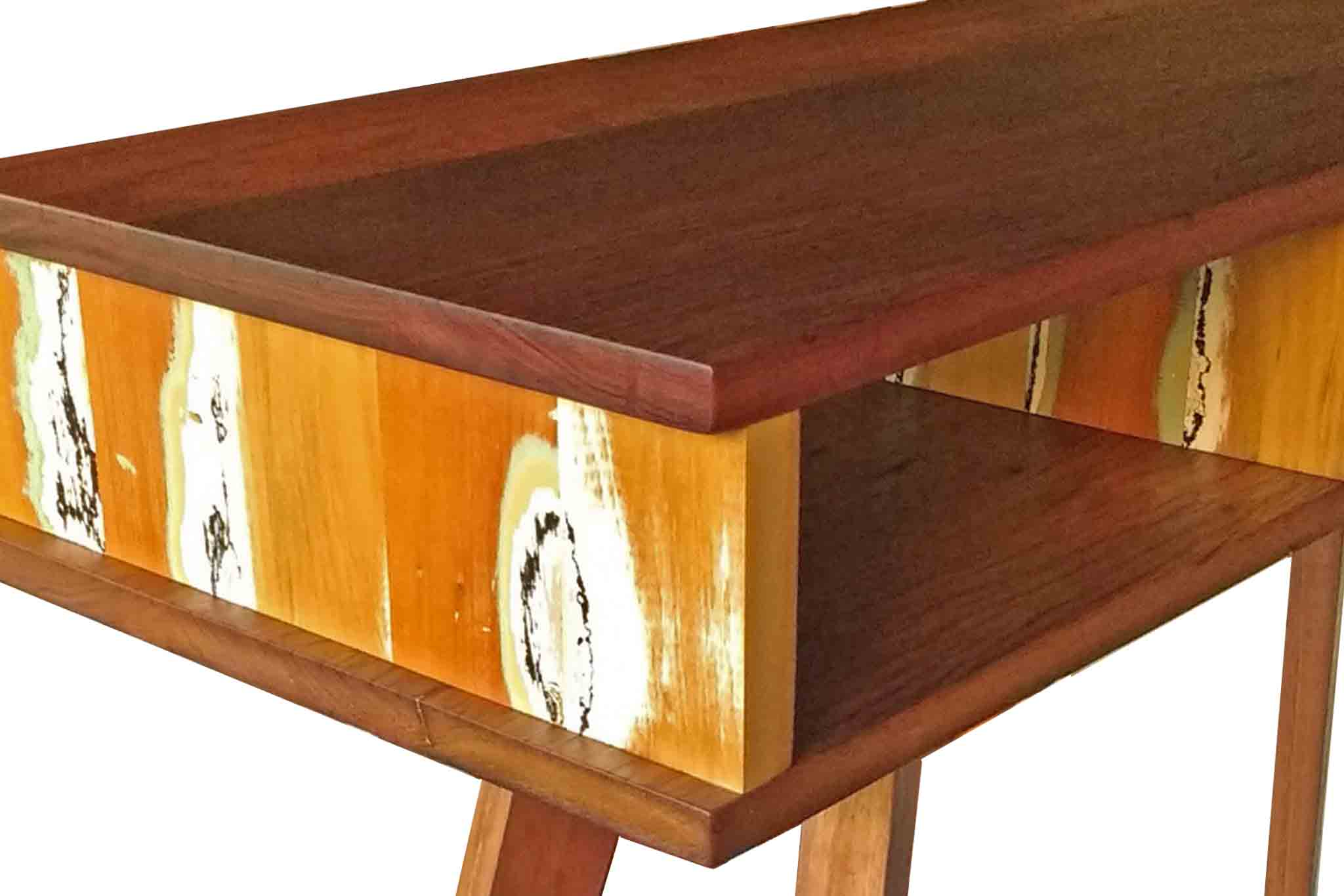 Reclaimed timber hall console table custom made from recycled Australian hardwoods by One Tree Studio.