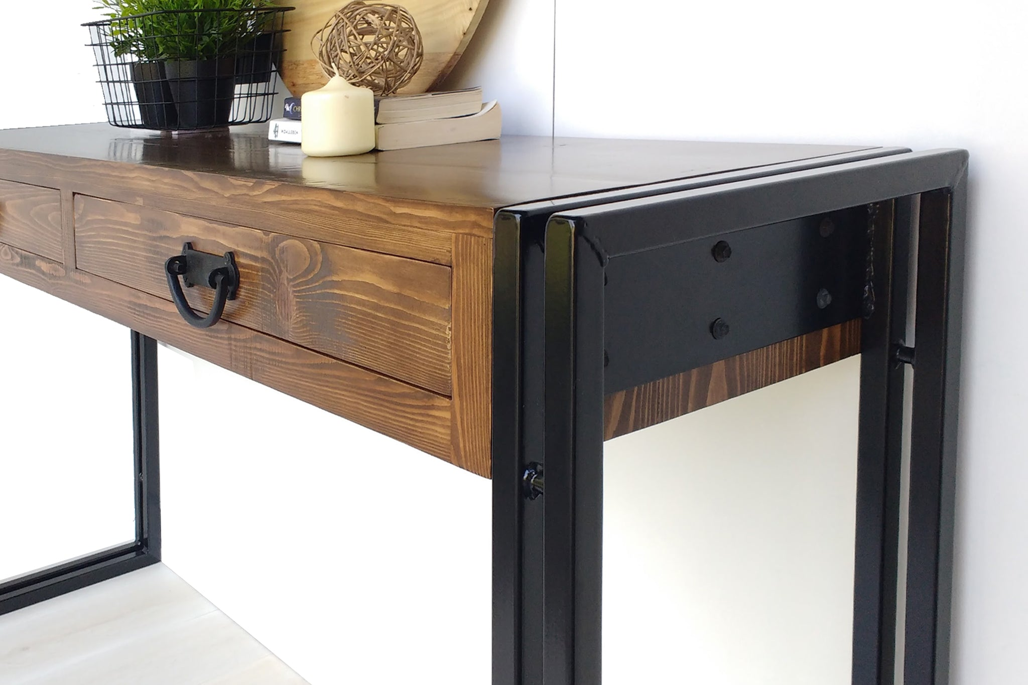Industrial Hall Console Table custom made with reclaimed timber by One Tree Studio