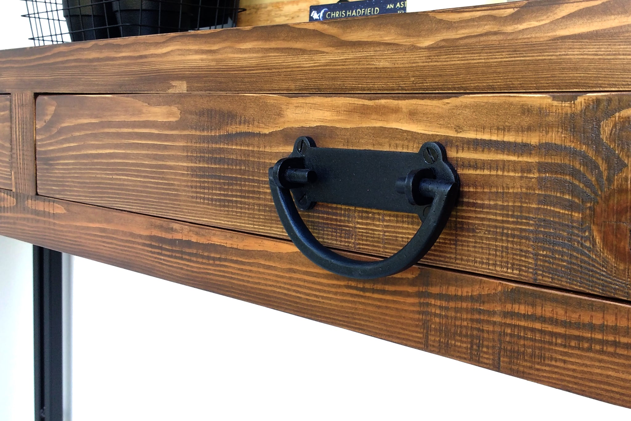 Industrial Hall Console Table custom made with reclaimed timber by One Tree Studio.