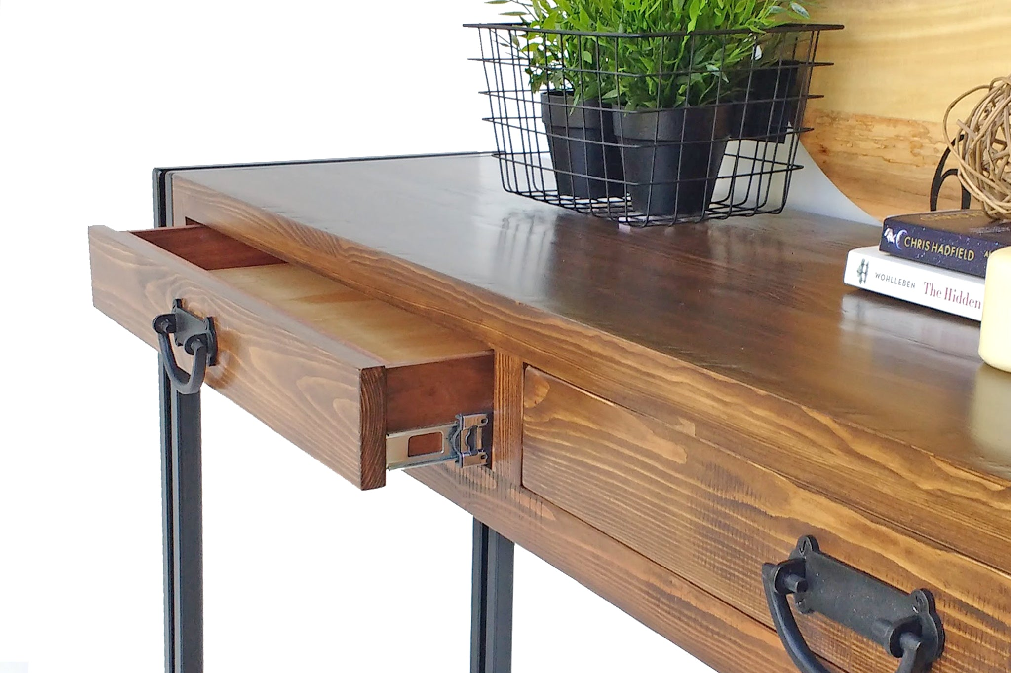 Industrial Hall Console Table custom made from reclaimed timber by One Tree Studio.