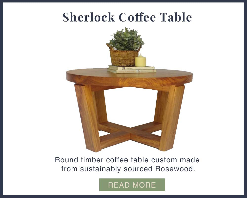 Round wooden coffee table custom made by One Tree Studio