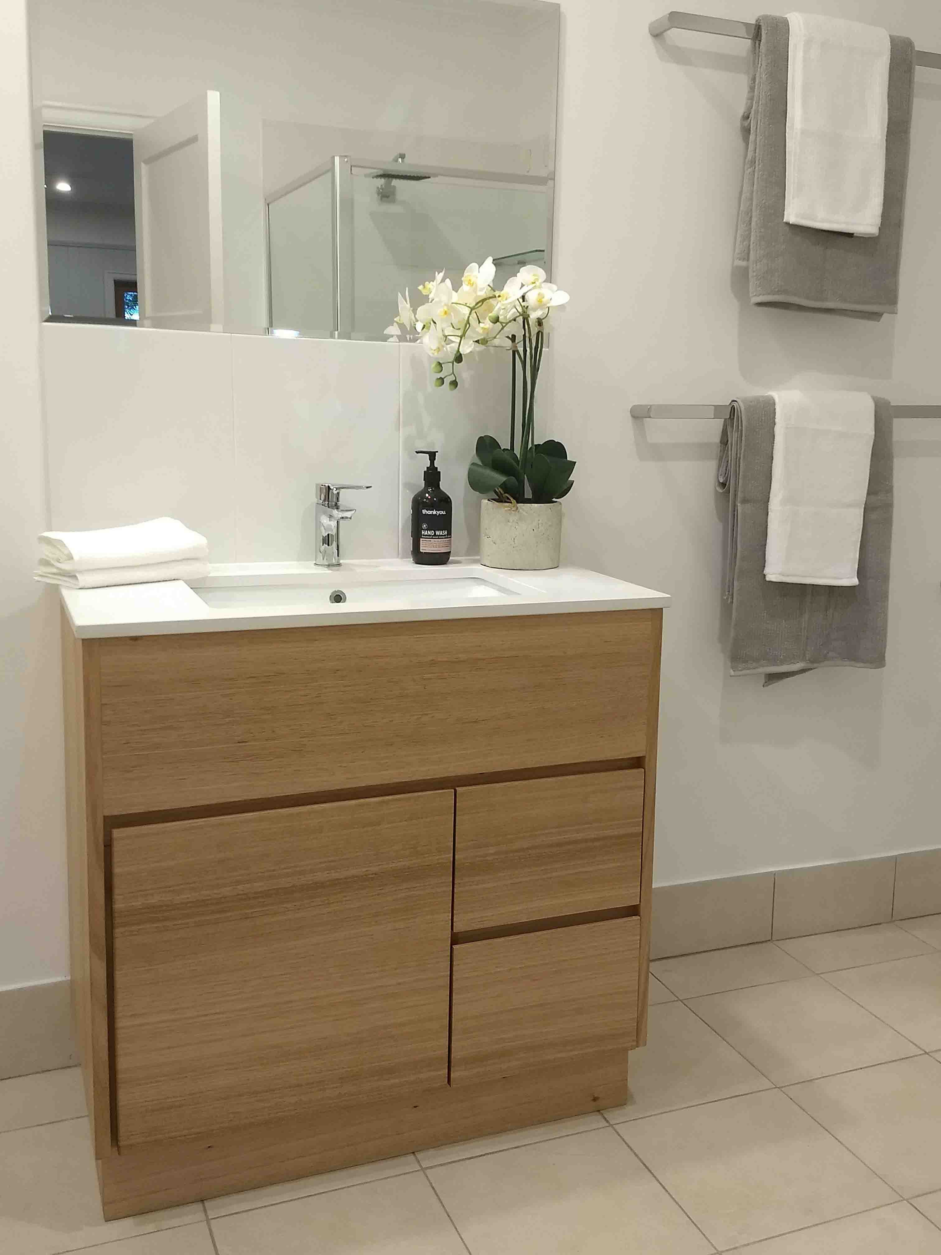 Timber Floor Standing Vanity custom made from Victorian Ash by One Tree Studio.