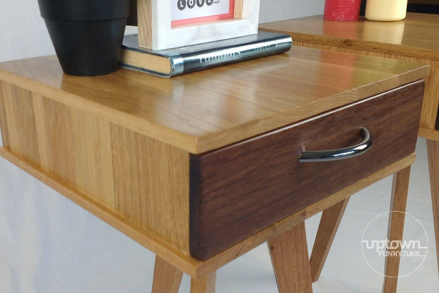 The Worker - Bedside Tables with Drawers - Pair Table - Uptown Funky Junk