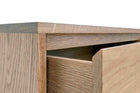 Close up image of American White Oak Chest of Drawers with finger pull drawers.