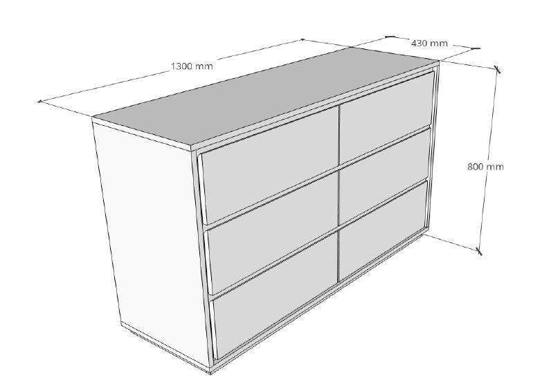Chest of Drawers Dimensions Image L1300mm x W430mm x H800mm