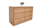 Chest of Drawers with 6 large soft close drawers. Made from a range of sustainably sourced timber in Brisbane. This image shows Chest of Drawers in American White Oak