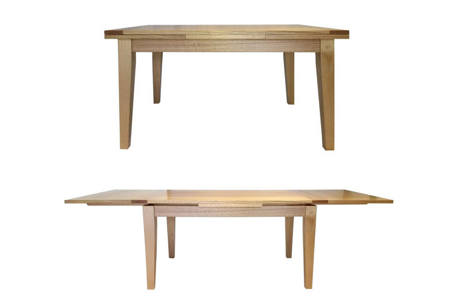 Dutch Pull Out Extendable Dining Table Lifestyle Image. This images shows the table made from sustainably sourced Victorian Ash.