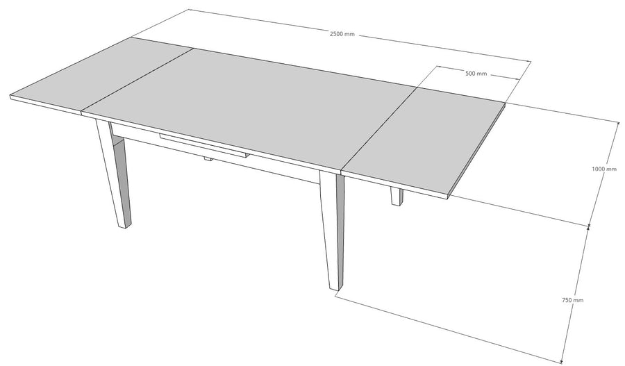 Extendable Dining Table Dimensions Image. L1500mm x W1000mm x H750mm. Extended L2500mm. Extension leaves 500mm each.