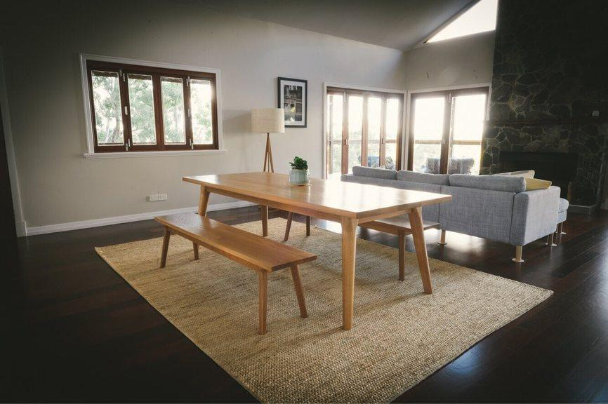 American Oak Dining Table & Bench Seats 1