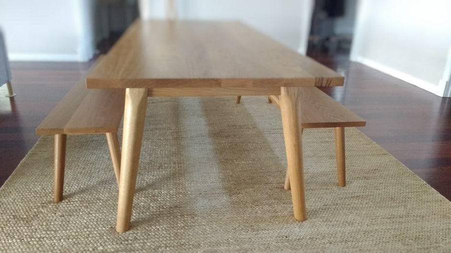 American Oak Dining Table & Bench Seats 4