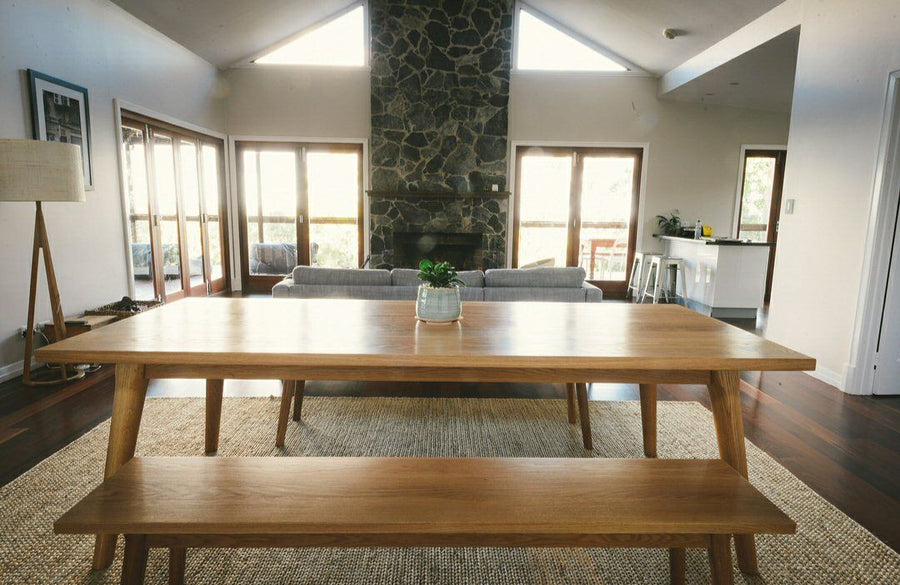 American Oak Dining Table & Bench Seats 2
