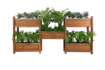 Reclaimed Timber Planter Boxes in a stackable 5 set custom made by One Tree Studio
