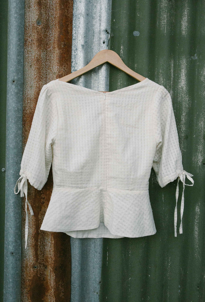 Lucknow peplum top - winter white check