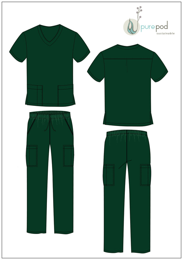 SCRUBS KIT - V neck top & pants - Forest