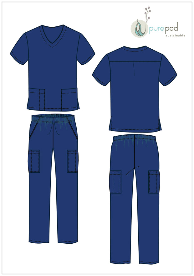 SCRUBS KIT - V neck top & pants - Navy