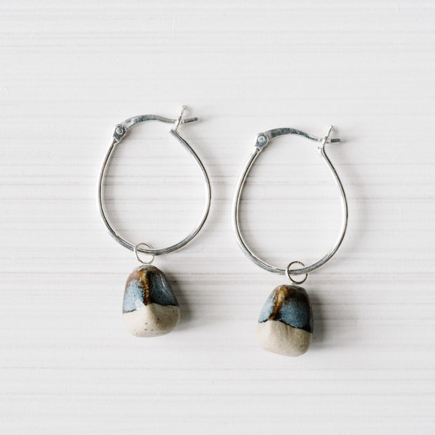 Ink Rough Stone Hoops By Julia Denes