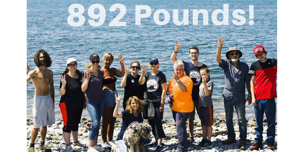 Our volunteers during the first beach clean up in Yarmouth, Nova Scotia