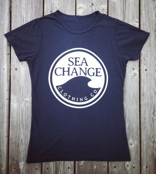 Women's SEA Change Logo Tee Shirt Navy