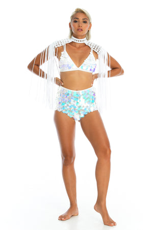 Festival high waisted hand-sewn sequin shorts, sequin top and macrame epaulettes top