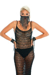Dust mask, macrame fringe festival accessory, sexy boho crochet dress in black