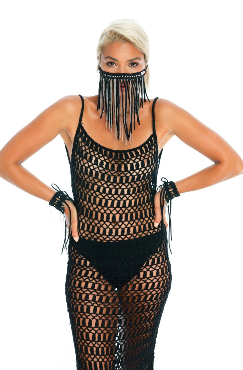 black macrame face mask, unique chain body jewellery. hand-crafted crochet dress, gender-neutral burning man costumes